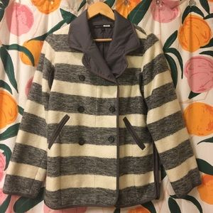 Marc Jacobs grey & white striped coat small